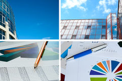 papperen för officiell för kontor för byggnadsaffärscollage Arkivbilder