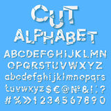 Pappers- alfabet med snittbokstäver Arkivfoto