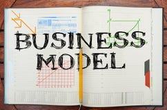 Pappers- anteckningsbok med inskriftaffärsmodellen, affärsconcep arkivfoto