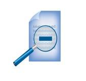 Pappers- ark med förstoringsglaset Arkivbild