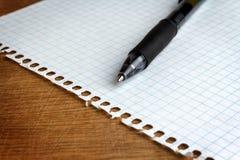 Pappers- ark med pennan royaltyfri bild