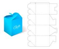 Pappers- ask för gåva med ritningmallen Arkivfoton