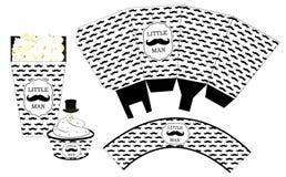 Pappers- ask för popcorn Muffinomslag Tryckbar mall för litet parti för pojke för dusch för man` s birthdaybaby Arkivbilder