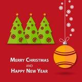 Pappers- bakgrund för julgran - illustration Arkivfoto