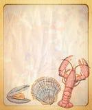 Pappers- bakgrund för tappning med det tomma stället för text och illustration av musslan och kräftan Royaltyfri Fotografi