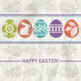 Pappers- bakgrund med färgeaster ägg, vektor Royaltyfri Fotografi