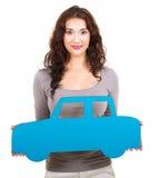 Pappers- bil för kvinna arkivbild