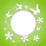 Pappers- blom- rund ram med fjärilar Arkivfoton