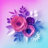 pappers- blommor f?r dekorativt neon 3d, isolerad bukett, blom- grupp, botanisk tapet f?r pastellf?rgad f?rg, mall f?r h?lsningko royaltyfri illustrationer