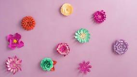 Pappers- blommor på tabellen stock video
