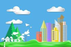 Pappers- bygd för landskap för radhus för stad för färg för design för konststillägenhet på grön gräsmatta med flygplanet och sol Royaltyfria Foton