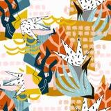 Pappers- collage för abstrakta blom- beståndsdelar arkivfoto