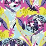 Pappers- collage för abstrakta blom- beståndsdelar royaltyfri illustrationer