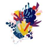 Pappers- collage för abstrakta blom- beståndsdelar stock illustrationer