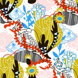 Pappers- collage för abstrakta havsbeståndsdelar royaltyfri illustrationer