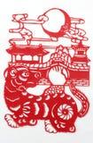 Kina rött pappers- klipp Royaltyfria Bilder
