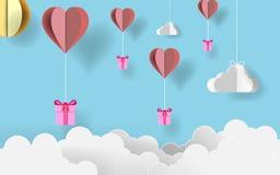 Pappers- dag för konstvalentin` s Pappers- origamigåvor som flyger med pappers- hjärta för origami, sväller i blå himmel för godi royaltyfri illustrationer