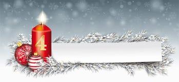 Pappers- den fryste banerstruntsaken fattar julljusAdvent 4 stock illustrationer