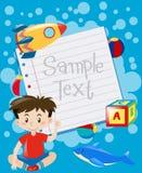 Pappers- design med pojke- och leksakbakgrund stock illustrationer