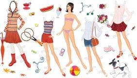 Pappers- docka stock illustrationer