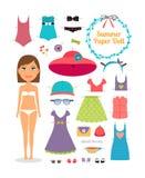Pappers- docka för sommar Flicka med klänningen och hatten Arkivfoto