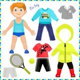 Pappers- docka med en uppsättning av kläder. royaltyfri illustrationer