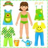 Pappers- docka med en uppsättning av kläder. Gullig flicka. stock illustrationer