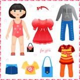 Pappers- docka med en uppsättning av kläder. Gullig modegir stock illustrationer
