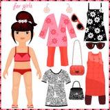 Pappers- docka med en uppsättning av modekläder. royaltyfri illustrationer