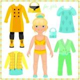 Pappers- docka med en uppsättning av modekläder. vektor illustrationer