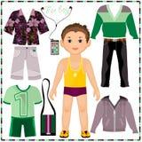 Pappers- docka med en uppsättning av trendiga kläder. Snitt royaltyfri illustrationer