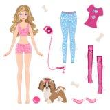 Pappers- docka med kläder och hunden vektor illustrationer