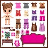 Pappers- docka med kläderuppsättningen stock illustrationer
