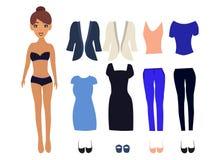 Pappers- docka med olika klänningar vektor illustrationer
