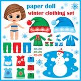 Pappers- docka med vinterkläderuppsättningen. stock illustrationer