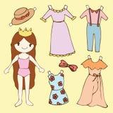 Pappers- dockauppsättning för gullig flicka Arkivbilder