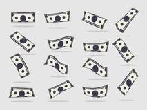 Pappers- dollarsedlar faller uppsättningen stock illustrationer