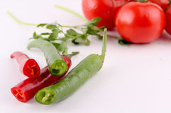 Pappers and domatos. Vegetables Food Concept and Decoration stock image