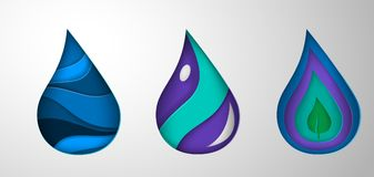 Pappers- droppar för konsttecknad filmvatten Origamistil vektor illustrationer