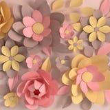 Pappers- eleganta pastellfärgade kulöra blommor på beige bakgrund Valentin dag, påsk, moders dag, bröllophälsningkort rende 3D royaltyfri illustrationer
