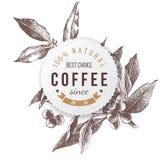 Pappers- emblem för kaffe stock illustrationer