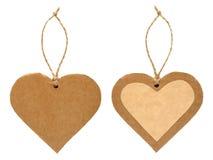 Pappers- etikett i form av hjärta Fotografering för Bildbyråer
