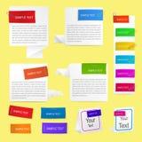 Pappers- etiketter med fäster ihop Royaltyfri Bild