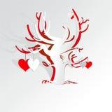 Pappers- förälskelseträd royaltyfri illustrationer