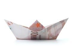Pappers- fartyg för euro royaltyfria bilder