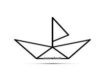 Pappers- fartyg med en segla Royaltyfri Foto