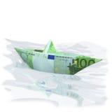 Pappers- fartyg med euro 100 Arkivbilder