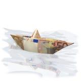 Pappers- fartyg med 50 euro Arkivfoton