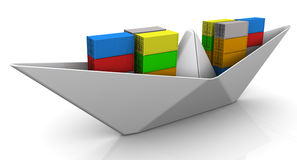 Pappers- fartyg med sändningsbehållare Arkivbilder