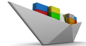 Pappers- fartyg med sändningsbehållare Fotografering för Bildbyråer